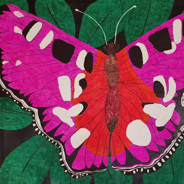 Abstract At Butterfly On Green Leaves